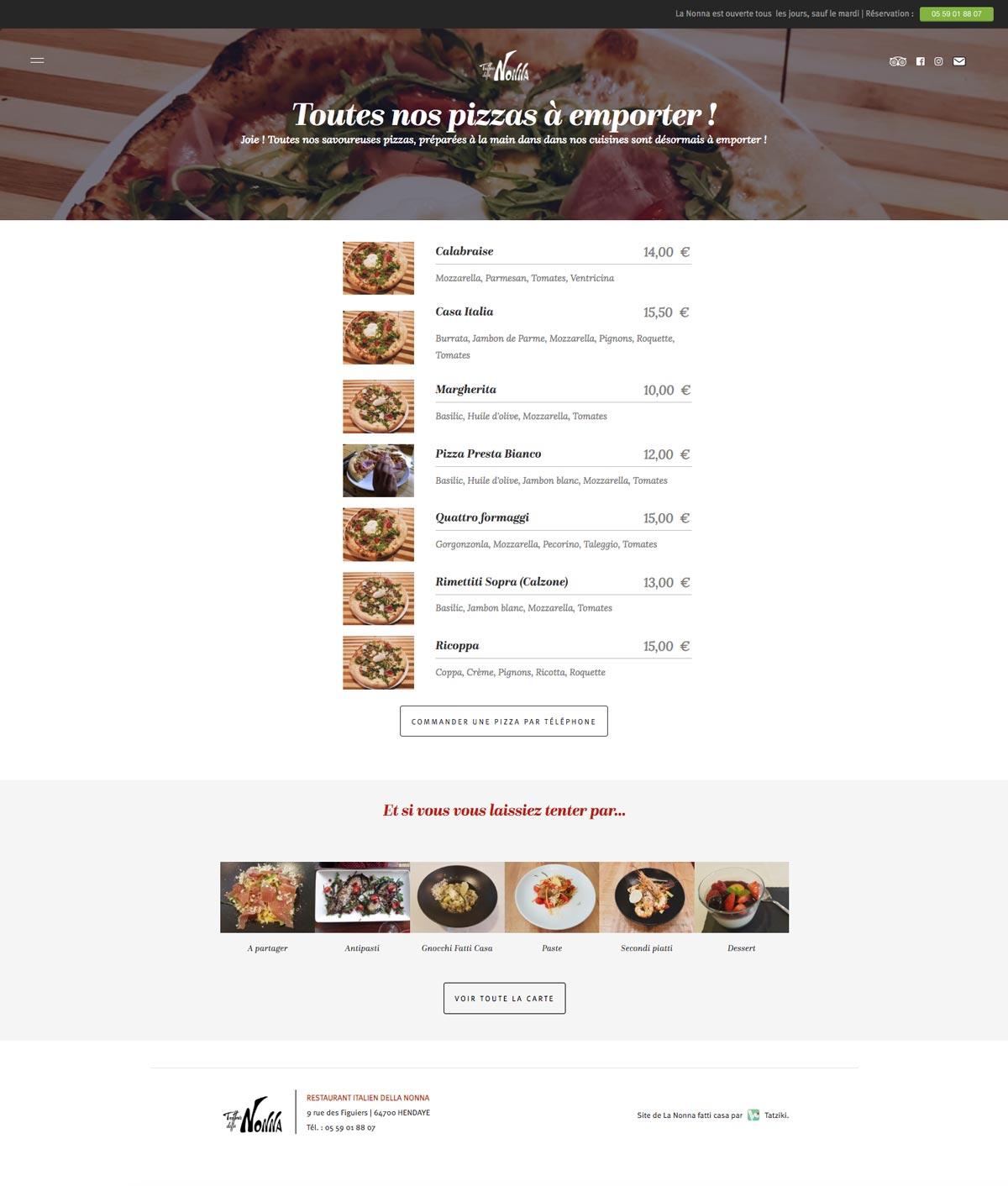 Tatziki-webdesign Trattoria della Nonna - Pizzas