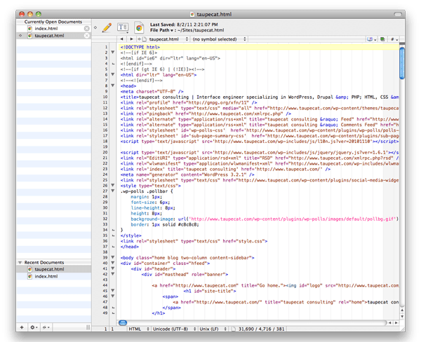 BBEdit 10 window with the document sidebar on the left.