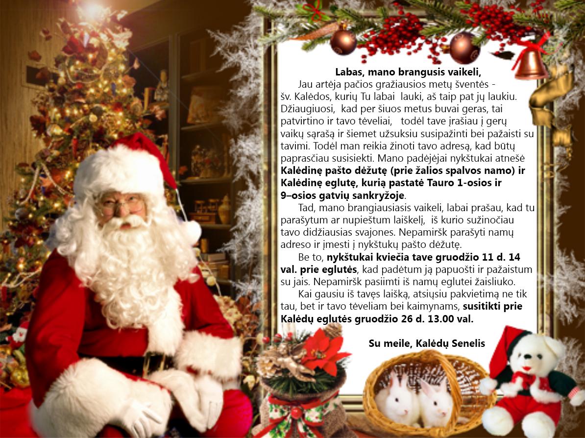 Kalėdų senelio laiškas Tauro sodų vaikams