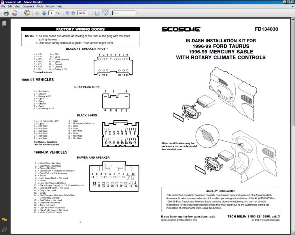 2002 Ford Taurus Radio Wiring Diagram