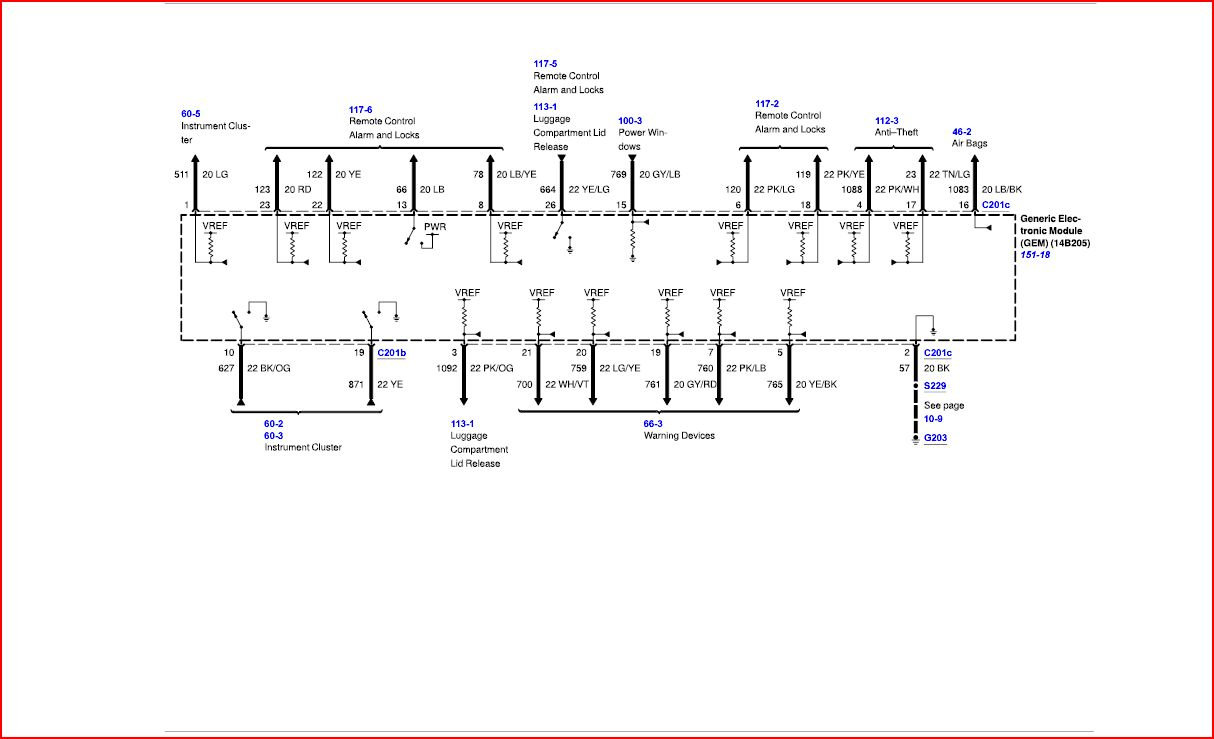 hight resolution of ford tauru fuse box diagram 2001