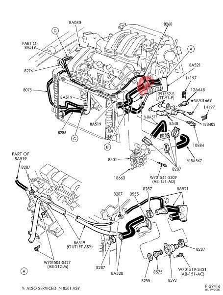 2002 ford taurus heater hose diagram