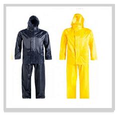 Navy - Yellow Rubberised Rainsuits