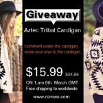 Romwe Aztec Tribal Cardigan #Giveaway!