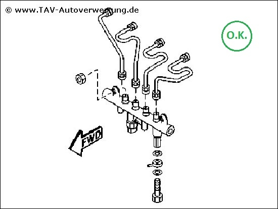 Fuel common rail Mazda 6 RF5C13GC0 Denso 0360, 87,00