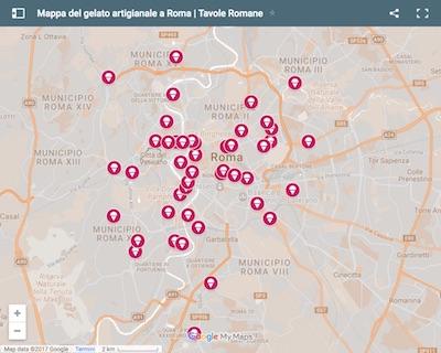Mappa del Gelato Artigianale a Roma