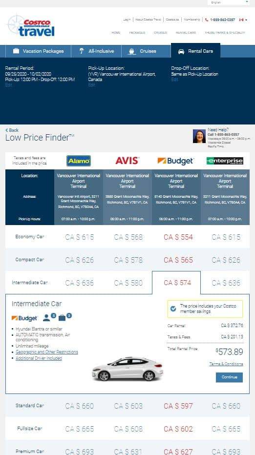 PC Travel vs. Costco Travel car rental comparison