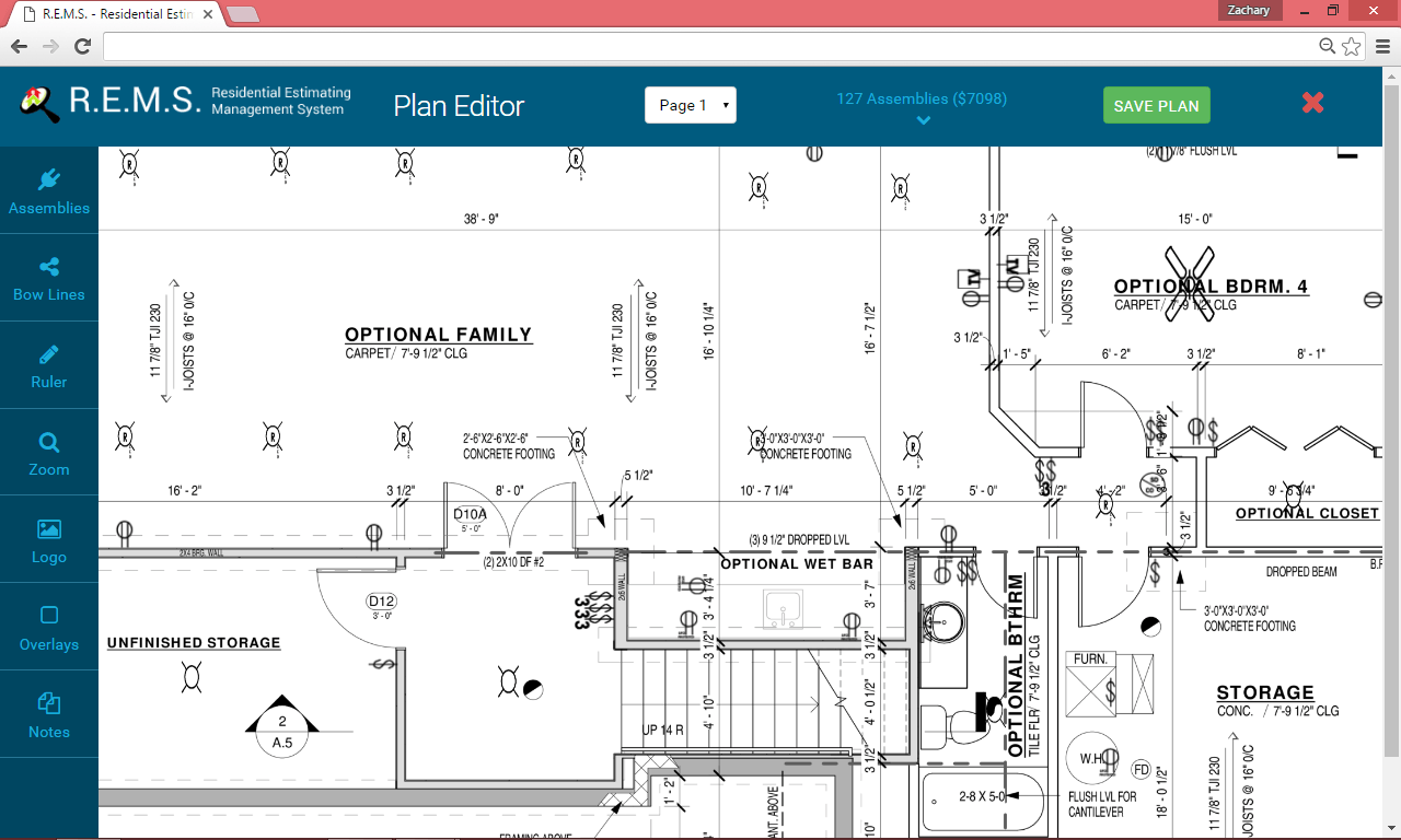 hight resolution of rems plan editor visual electrical estimating