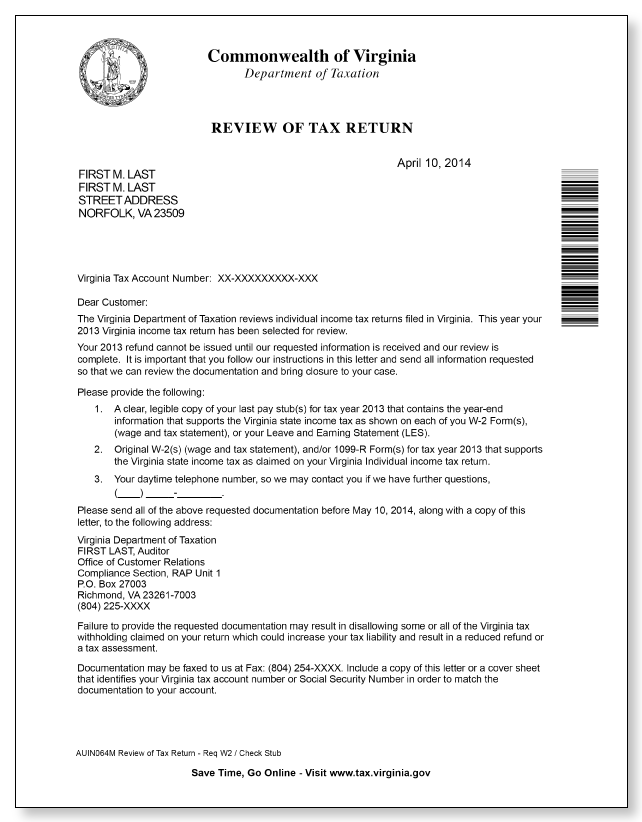 Virginia Department of Taxation Review Letter  Sample 1