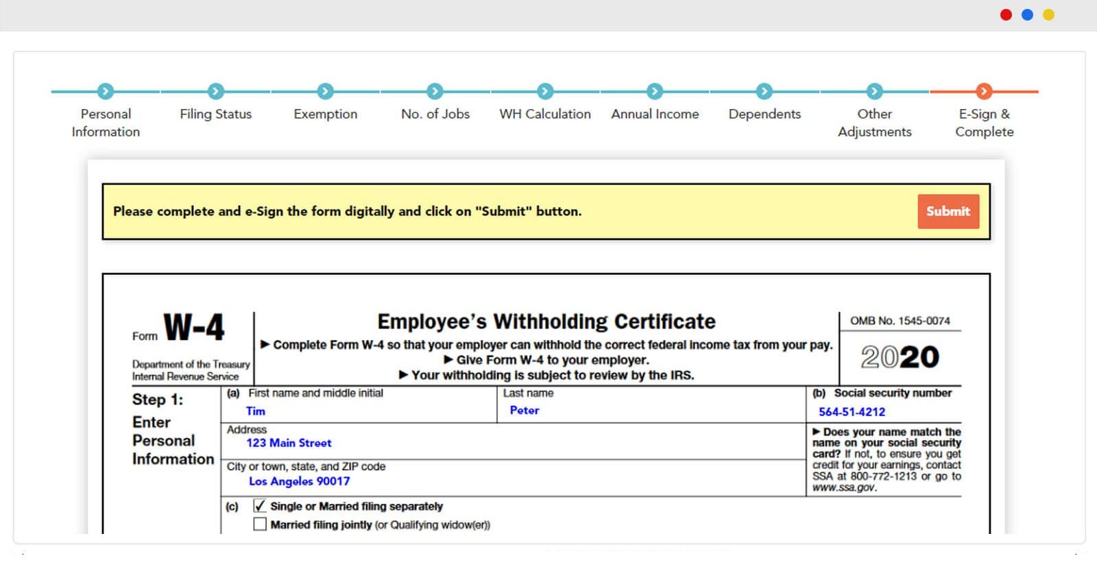 Form W 4 Online