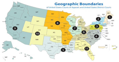 Geographic Boundaries, Court of Appeals, District courts