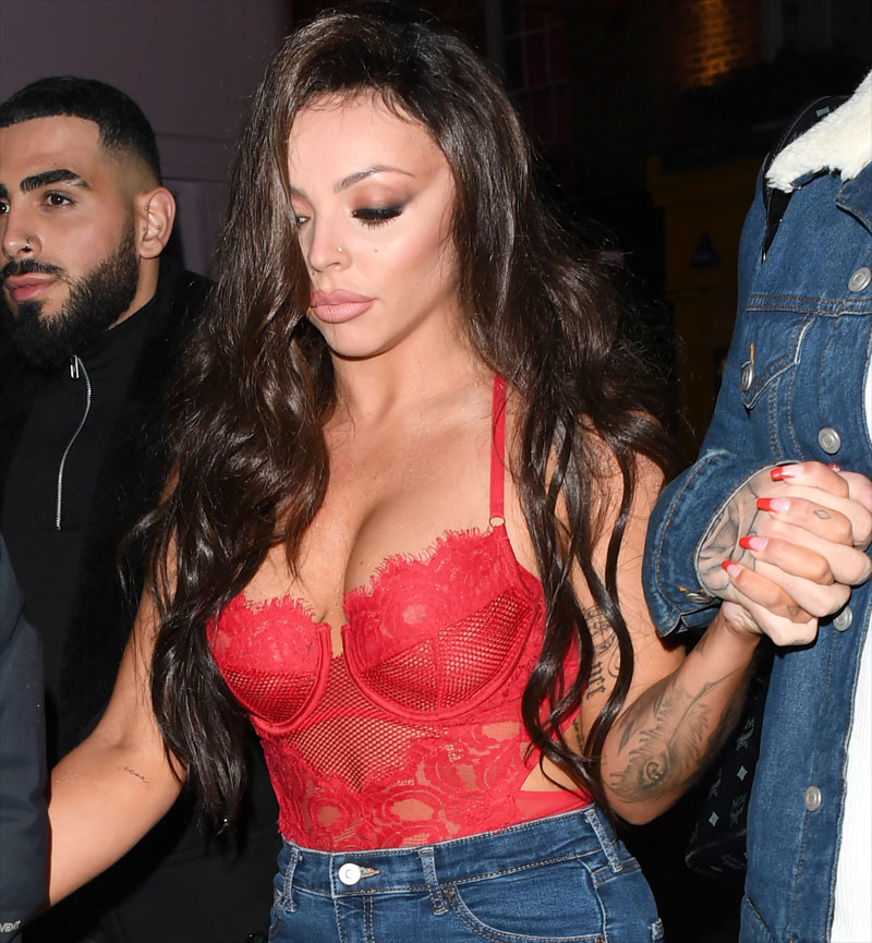 Jesy Nelson Wearing a See Through Red Lace Corset  Taxi