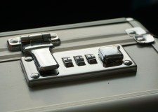 Combination lock on briefcase