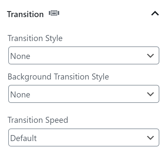 Chose a transition style for your content and backgrounds. Then choose a speed.