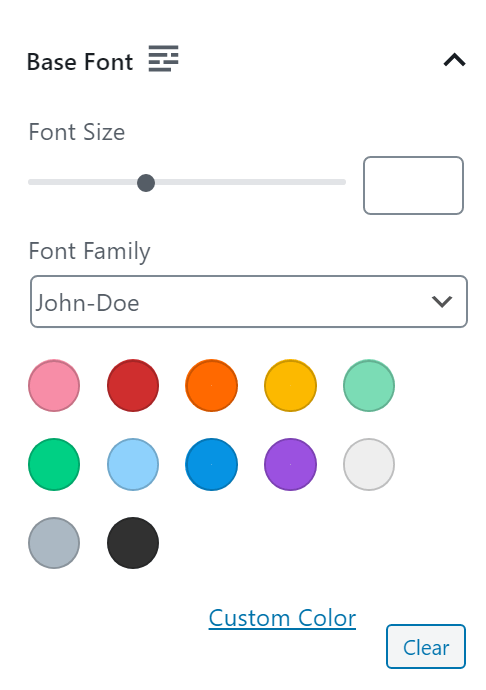 Set your base font using any font available on your website, choose the font color and set the font size.