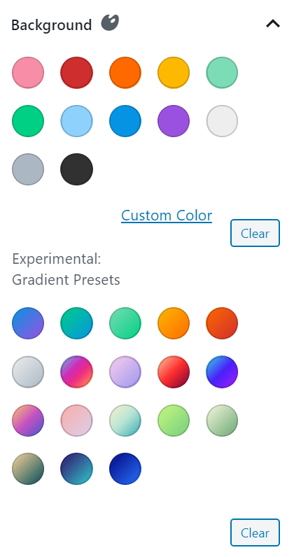 Choose a color for your slide background, or select a gradient.