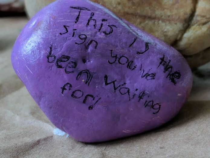 Painted Rock with silly message