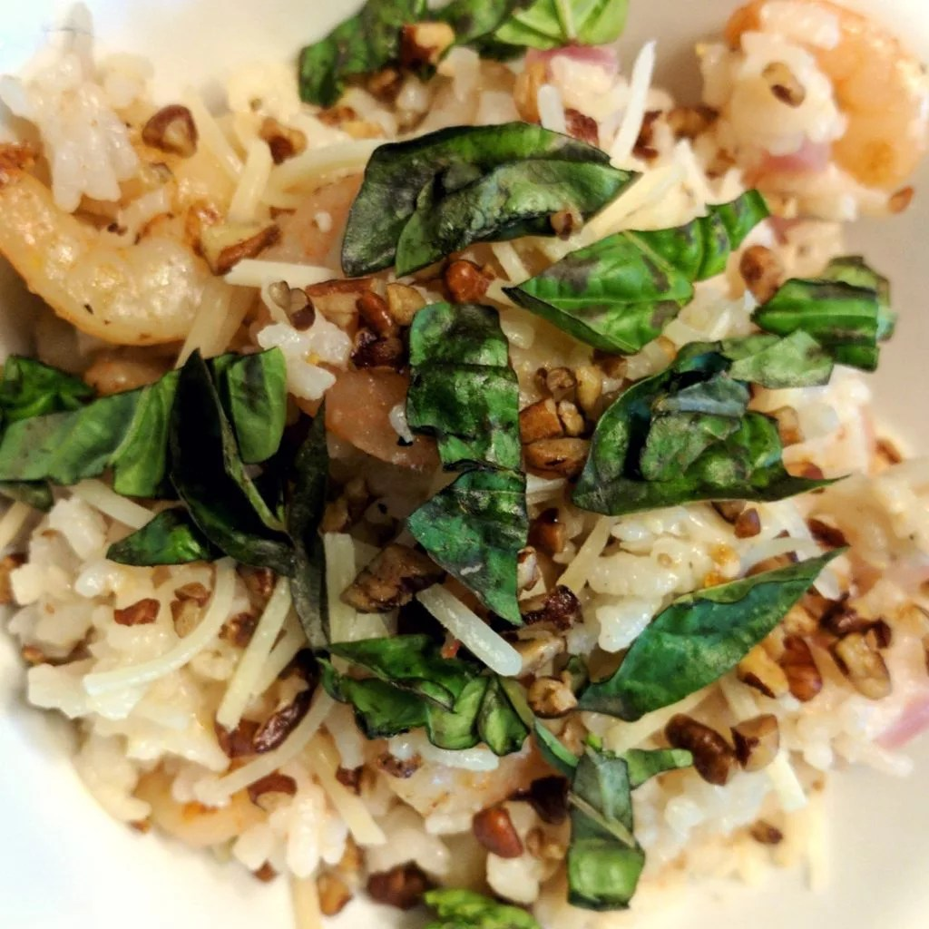 Oven Baked Shrimp Risotto with Pecans and Basil