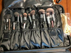 The second compartment in this cosmetic travel case has enough room to hold all of my make up brushes, and cosmetic pencils. This professional Make up travel bag and organizer has 3 rows of pockets - so I have room for even more! (I think I need a shopping trip)