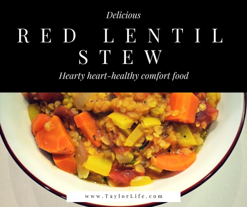 Red Lentil Stew - flavorful and filling, this low-sodium soup is perfect star of the DASH diet
