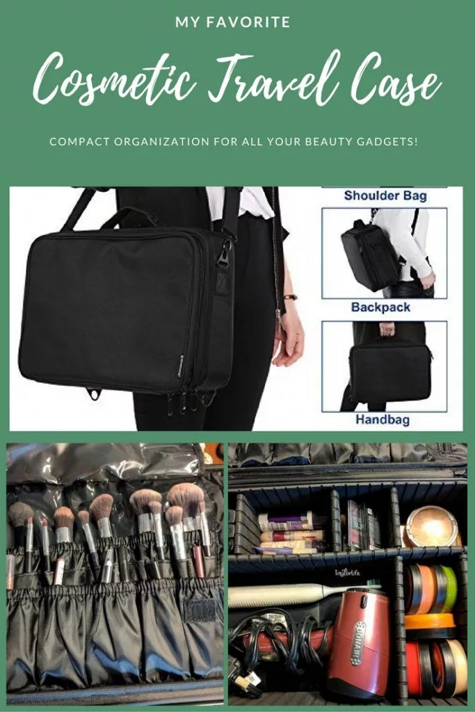 The best travel cosmetic organizer I have ever used - you can customize the storage. It's large enough to hold all my brushes, curling iron, blow dryer, and make-up - but compact enough for travel.