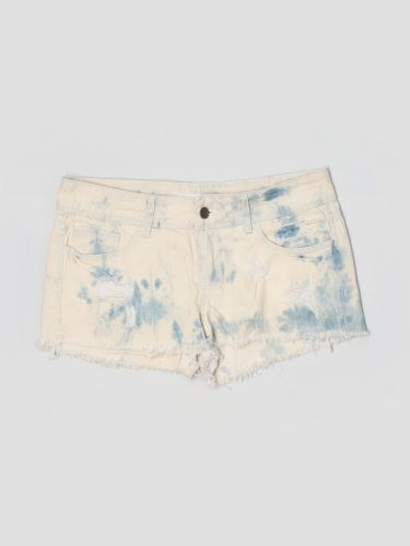 2.1 Denim Shorts with a light blue wash and frayed edges.