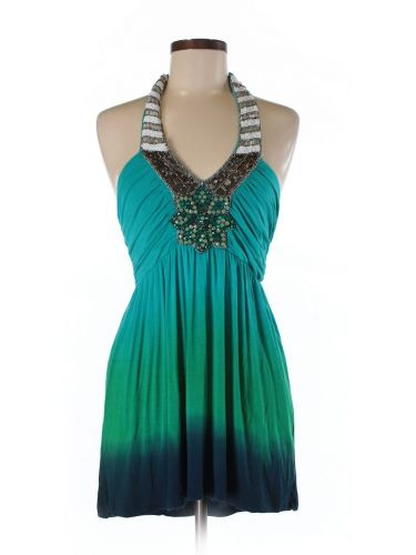Boston Proper Halter top with beaded accents and drip dye in teal and dark blue.