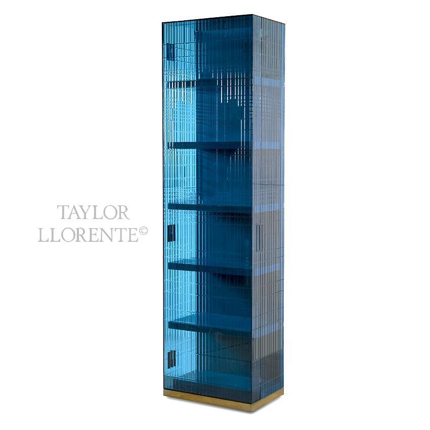 ENGRAVED BLUE GLASS CABINET PIX1003  TAYLOR LLORENTE