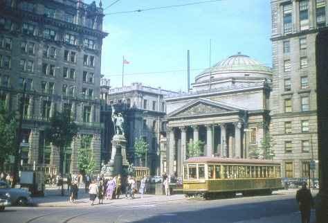 Trams at Place d'Armes ca. 1940s (Montréal)