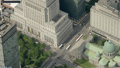 L to R: Tour CIBC, Sun Life Building, 5 Place Ville-Marie, Mary, Queen of the World Cathedral, Queen Elizabeth Hotel