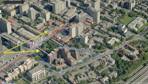 Aerial Perspective of Montreal Children's Hospital and Surrounding Shaughnessy Village