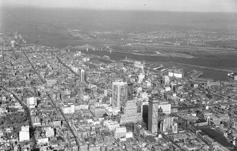 Aerial perspective of the City of Montreal, ca. 1963 - Archives de Montréal