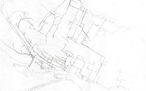 Montreal's sewer system in 1962; the route taken by P.W. St. George in 1885  can be traced from near the centre
