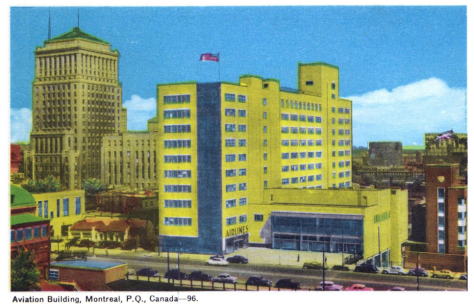 The first ICAO Headquarters, upon completion in 1949. In the background, the office tower and annex of Bell Canada. At far right, part of CN's Central Station