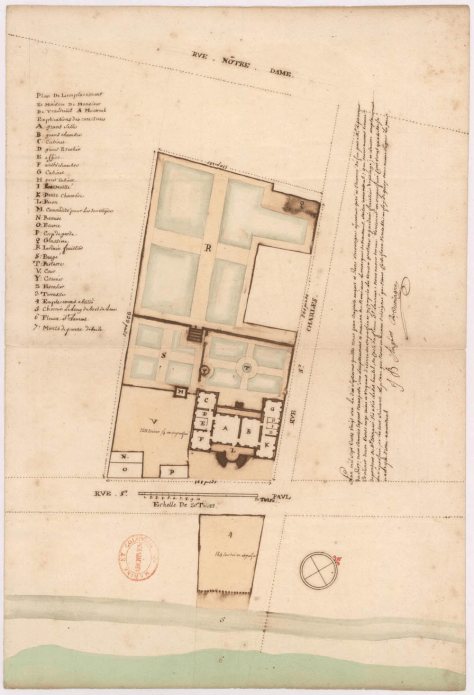 Plan of the Chateau Vaudreuil; this would later become Place Jacques-Cartier