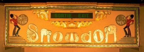 Snowdon Theatre Exit Sign