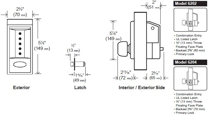 Simplex 6200 Series Mechanical Pushbutton Lock with