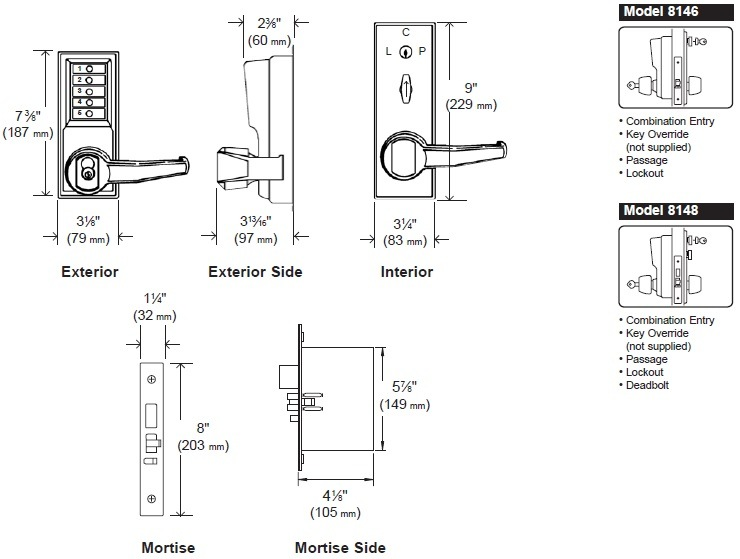 Simplex 8146 Grade 1 Mortise Pushbutton Lock with Key