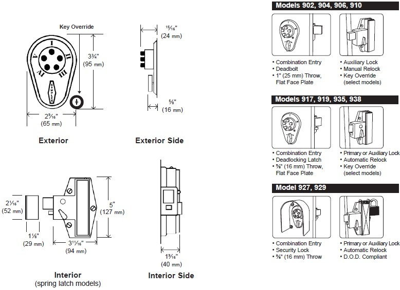 Simplex 900 Series Mechanical Pushbutton Auxiliary Lock w