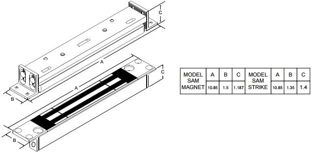 Securitron SAM-SAMB-SAMBD-SAMD Shear Aligning Magnalock