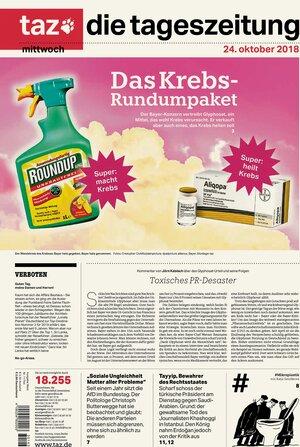 taz-Titelseite zu Bayer und Krebs