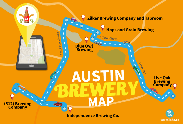 The Austin Brewery Map for the Perfect Day of Beer TaZa Design