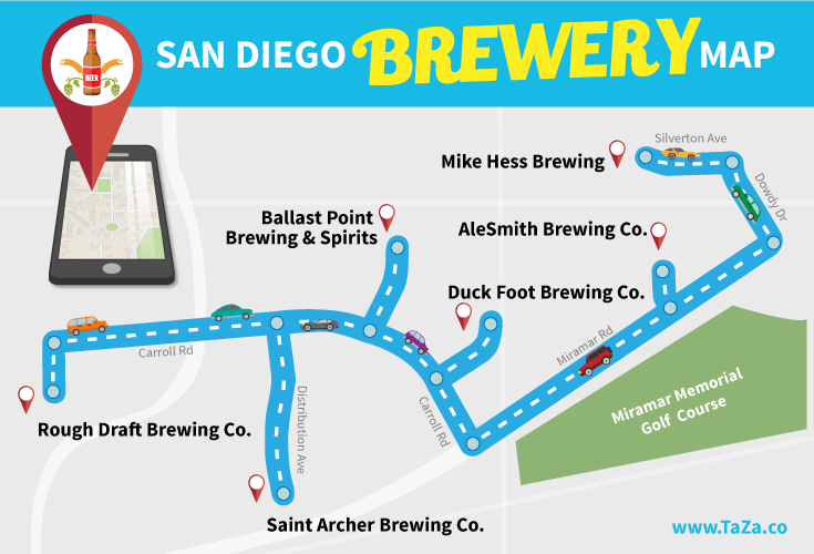 San Diego Beer Map Visit Six Breweries in One Day with this San Diego Brewery Map
