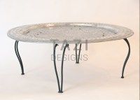 Moroccan Silver Tray Table  Tazi Designs