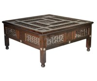 Carved Wood Moroccan Coffee Table  Tazi Designs