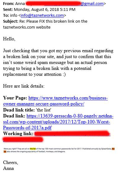 dead link email scam example