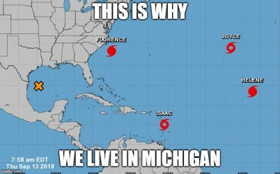 meme showing Atlantic storms in September 2018 as illustration for natural disasters