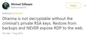 Michael Gillespie Tweet about Dharma ransomware .combo variant