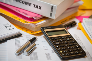 image depicting common accounting and tax preparation items