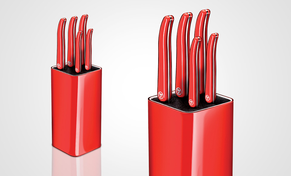 red kitchen knife set stainless steel double sink undermount laguiole evolution of knives and block on sale
